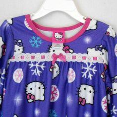 Hello Kitty Nightgown Purple Girls Sz 4 Polyester Print Long Sleeve Sleepwear  #HelloKitty ##sleepwear