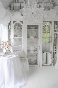 My Shabby Streamside Studio: A New Look: Toile Wallpaper in My China Cabinet