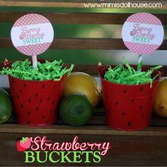 Strawberry Party: Strawberry Buckets Tutorial - Mimi's Dollhouse