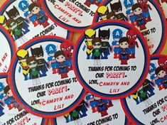 Set of 12 Personalized Superhero Boy Collection -Favor Tag, Thank You Tag, Gift Tag -Baby Shower, Birthday Party -Superhero Party on Etsy, $6.00