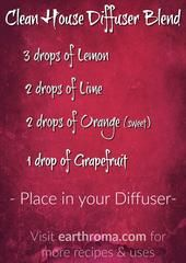 Clean House Diffuser Essential Oil Blend. 3 drops of Lemon essential oil. 2 drops of Lime essential oil. 2 drops of Orange essential oil. 1 drop of Grapefruit essential oil. Place in your diffuser and enjoy the clean citrus smell. visit https://earthroma.com/pages/essential-oil-uses-recipes for more recipes.