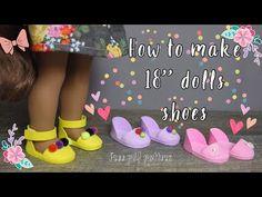 DIY doll Shoes Chic Sandals for dolls free pdf pattern Og Dolls, Girl Dolls, Barbie Doll, Baby Dolls, American Girl Doll Shoes, American Girls, Doll Shoe Patterns, Ag Doll Clothes, Dollhouse Furniture
