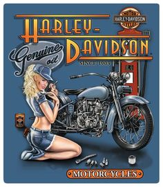 Harley-Davidson Mechanic Babe Embossed Tin Sign at AllPosters.com