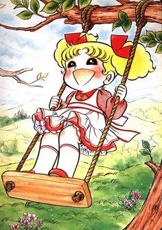 Candy bambina in altalena - disegno originale di Yumiko Igarashi.