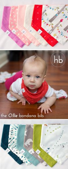 "Ollie Bandana Drool Bib | Hemming Birds Boutique.  Adorable, functional, and stylish for your modern baby.  Handcrafted from 100% premium cotton double gauze (ORGANIC available!) Soft and gentle against skin and adsorbent - perfect to keep drool and dribble out of adorable neck folds. Fits 3 months and up with 2 snap settings. $33 for pair. A new essential for baby registries!  (Gift wrapping available)  Machine Wash and Dry.  Made in USA. Try out the ""obsession"" yourself!"