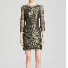 DVF Zarita black and gold lace dress DVF very popular Zarita black and gold short version lace dress. Back exposed zipper, v- neck back. Only worn once, in like new condition. If you're familiar with this dress you know it runs very small. I wear a size 6 and had to buy the size 10 for it to fit. Three quarter sleeves. Diane von Furstenberg Dresses
