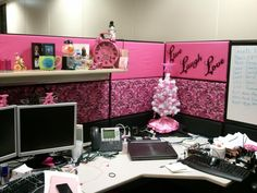 Cubicle Office Decor With Pink Nuance And Small White Christmas F Tree On Wooden Desk. home decorating. home decor fabric. home decor ideas. nautical home decor. christmas home decor.