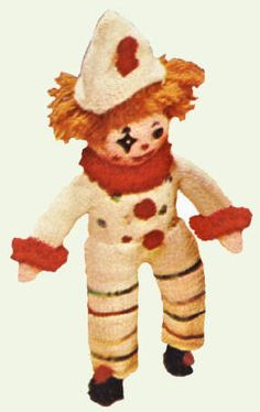 Clown Doll Vintage Knitting Pattern to download