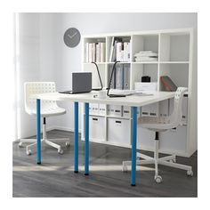 KALLAX Workstation, white, blue white/blue 57 7/8x57 7/8