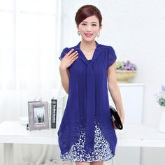 2014 Summer new plus size women loose short-sleeved printed chiffon dress many colors M-XXXXXL 5XL  free shipping $19.99 - 23.99