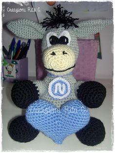 La mascotte del Napoli realizzata a uncinetto con la tecnica degli amigurumi Creazioni Rita C. ...Only Handmade!