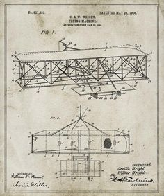 The sky's the limit! Orville and Wilbur Wright drastically changed the way the world traveled with their patent for their famous flying machine, dated 1906. The Oliver Gal Artist Co. hopes that these stylized blueprints of classic inventions will serve as inspiration as technology becomes more and more advanced.