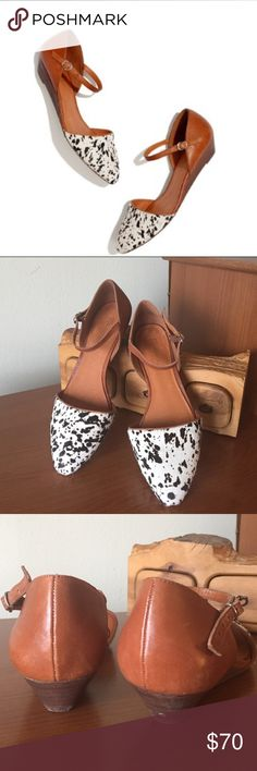 """Madewell wedge in speckled calf hair Madewell duet mini wedge in speckled calf hair.  Has small nick on back of heel as shown in pictures.  1 1/8"""" stacked heel. Calf hair upper. Leather lining. Man-made sole. Import. Madewell Shoes Flats & Loafers"""