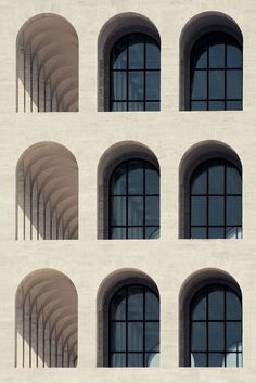 """Palazzo della Civiltà Italiana, Esposizione Universale Roma (EUR) in Rome was designed by Marcello Piacentini. Called the ''Colosseo Quadrato"""" (Square Colosseum), it is an icon of monumentalism and rationalism A As Architecture, Contemporary Architecture, Fascist Architecture, Installation Architecture, Architecture Graphics, Photo D'architecture, Facade Design, Layout Design, House"""