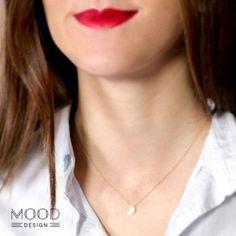 collar luna oro  plata chapada en oro montaje
