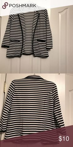 Jacket Blue and white stripes with front pockets. Barely worn. Jackets & Coats Blazers