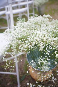 Aisle runner in the church: Baby's breath in vases