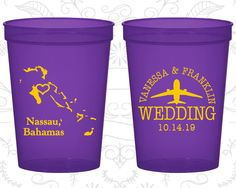 Bahamas Wedding Cups, Bahamas Wedding, Wedding  Plastic Cups, Destination Wedding, stadium cups, Nassau Cups (158)