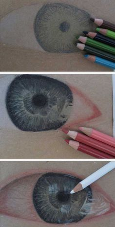 Photo-like art made with paint, charcoal, colored pencils...