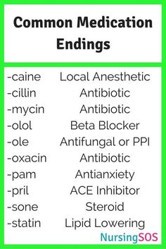 Common Medication Endings