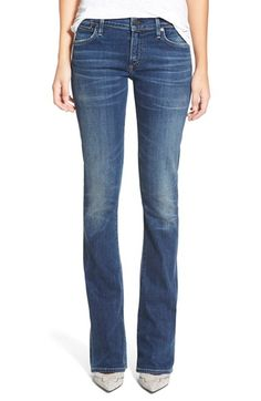 Free shipping and returns on Citizens of Humanity'Emannuelle' Slim BootcutJeans (Modern Love) at Nordstrom.com. A perfectly versatile medium-blue wash features authentic handsanding and whiskeringthrough the thighs in bootcutjeans that kick out just enough to create a super-flattering silhouette.