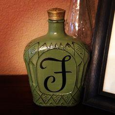 Crown royal bottle makeover! He drinks, I craft!