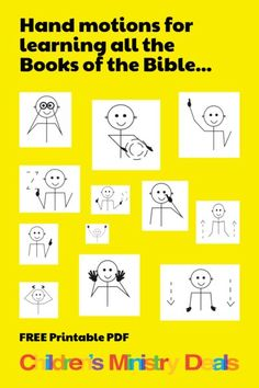 Use this FREE printable Books of the Bible Hand Motions Guide to help your kids memorize all 66 books of the Bible. Perfect for Kids Church and Sunday School! Bible Songs, Bible Games, Bible Activities, Preschool Activities, School Songs, Sunday School Lessons, Sunday School Games, Pre School, Middle School