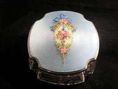 RARE Wonderful Antique Sterling Silver Guilloche Powder Jar Vanity Enamel Roses