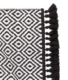 Jacquard Weave Bath Mat Black White Patterned Home H M Us