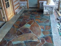 acid stained faux flagstone floor for the porch if i can t have