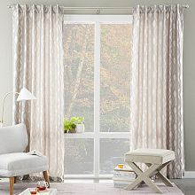 Brushstroke Ogee Jacquard Curtain- West Elm (curtains for bedroom and living room areas Curtains And Draperies, Curtains For Sale, Bedroom Curtains, Drapery, Rm 1, By Any Means Necessary, Furniture Sale, Bedroom Furniture