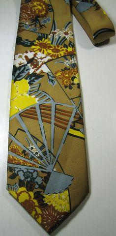 ULTRA RARE Rich Metallic Brown Gold Gray Flowers Floral Wide Vintage Tie RARE #unbranded #NeckTie