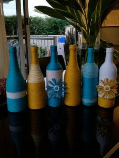 BLUE YELLOW Twine Wrapped Wine Bottles by LeathelDesignz on Etsy