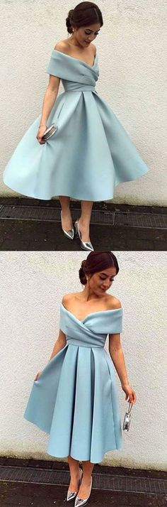 off the shoulder blue homecoming dresses,tea length prom dress with pleats,simple homecoming dress 2017