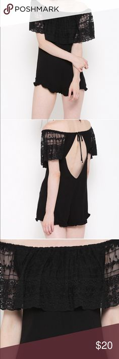 Forever 21 black off the shoulder lace romper So cute! Brand new with tags! Forever 21 Pants Jumpsuits & Rompers