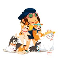 A fun little self portrait featuring my favourite team of doggos and cats! My Squad and Me Illustration Mignonne, Children's Book Illustration, Character Illustration, Cartoon Drawings, Animal Drawings, Cute Drawings, Character Design Animation, Character Art, Amazing Animals