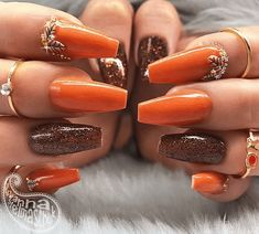 Find lots of cute Fall nail design ideas for you to choose from. Get Fall nail inspiration using Fall nail colors and designs. Cute Nails For Fall, Simple Fall Nails, Fall Gel Nails, Fall Acrylic Nails, Toe Nails, Nail Ideas For Fall, Coffin Nails, Cool Nail Ideas, Shellac Nails