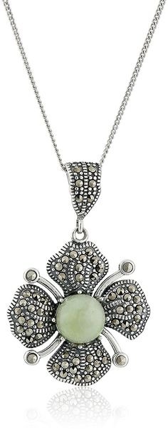 Sterling Silver Marcasite Green Jade Flower Curb Chain Pendant Necklace, 18' * Quickly view this special  product, click the image : Fashion Jewelry