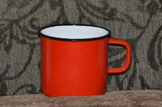 Red Cup Coffee cup Enamelware Enamel ware antique by WreathCreated, $10.00