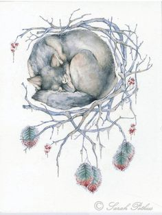 """Winter"" seasonal dreamcatcher series, 11x14 inch art print  www.NestandBurrow.etsy.com"