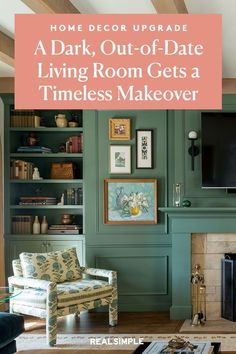 Space of the Week: A Dark, Out-of-Date Living Room Gets a Timeless Makeover | Lauren Caron, founder and principal designer of Studio Laloc, shares how she transformed her outdated living room with vintage-inspired decor and a refreshed fireplace for a cozy living space that is family-friendly. #realsimple #livingroomdecor #livingroomideas #details #homedecorinspo