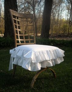 White Ruffled Chair Slipcover By PaulaAndErika On Etsy