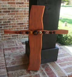 Orange Wooden Cross with beautiful stonework by GraceFlowsFreely, $20.00