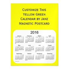 2016 Yellow Calendar by Janz Postcard Magnet Magnetic Invitations