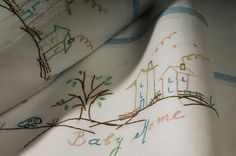 baby linen sheet pillowcase hand by babysdreamfairytales on Etsy