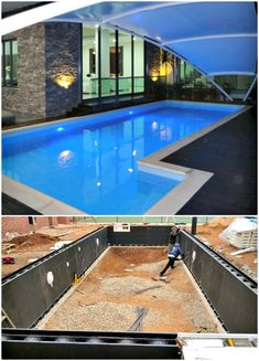 12 Low Budget DIY Swimming Pool Tutorials Save your money and try the ways of Low Budget DIY Swimming Pool TutorialsIf added to our n space, a swimming pool can really b Shipping Container Swimming Pool, Diy Swimming Pool, Diy Pool, Above Ground Swimming Pools, Piscina Diy, Inexpensive Backyard Ideas, Pool Plaster, Stock Tank Pool, Pool Installation