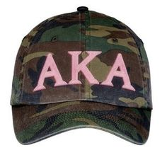 Alpha Kappa Alpha AKA Lettered Camouflage Hat Military Camo: Alpha Kappa Alpha Lettered Camouflage Hat with the popularity of camouflage - these Sorority hats are a great way to show chapter unity! Aka Sorority, Alpha Kappa Alpha Sorority, Sorority Sisters, Delta Phi, Sorority Gifts, Alpha Kappa Alpha Paraphernalia, Winter Camo, Greek Gear, Disney Couture