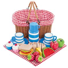 Picnic Basket with Wooden Food | JoJo Maman Bebe