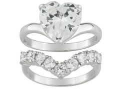 Want! - Bella Luce (R) 5.92ctw Rhodium Plated Sterling Silver Heart Ring With Band