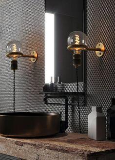 Circus Loop Minimalist Wall Light With Wall Socket - Tudo&Co Tudo And Co Modern Master Bathroom, Modern Bathroom Design, Bathroom Interior Design, Transitional Bathroom, Minimal Bathroom, Restroom Design, Master Bathrooms, Contemporary Bathrooms, Interior Paint